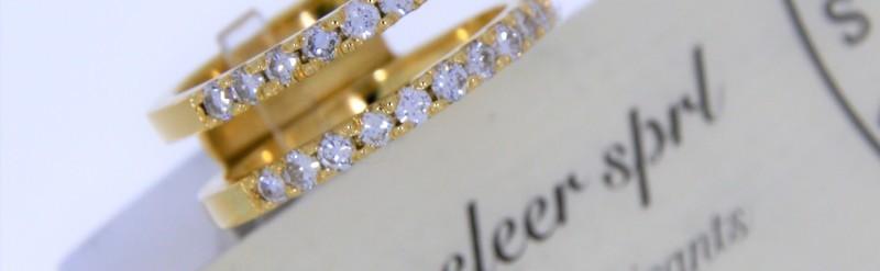 Double demi alliance diamant or jaune. Prix 2579 euros.