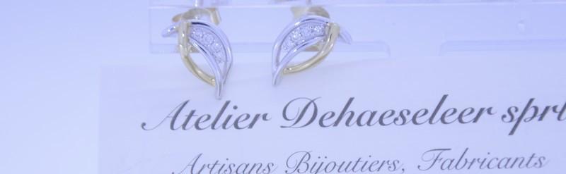 Boucles d'oreille bicolores. Prix 580 euros.